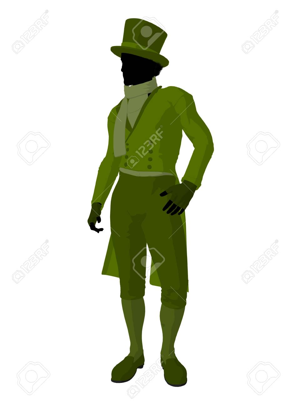 African american victorian man art illustration silhouette on a white background Stock Photo - 7655501