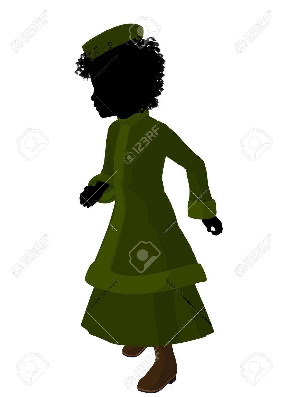 e0440d8959f African american victorian girl art illustration silhouette on a white  background Stock Illustration - 7655669