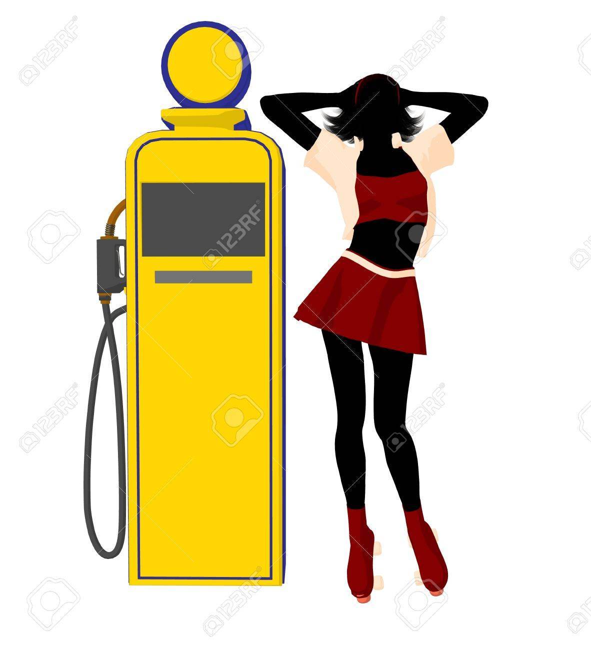 Girl on roller skates standing near a gas pump silhouette on a white background Stock Photo - 7942960