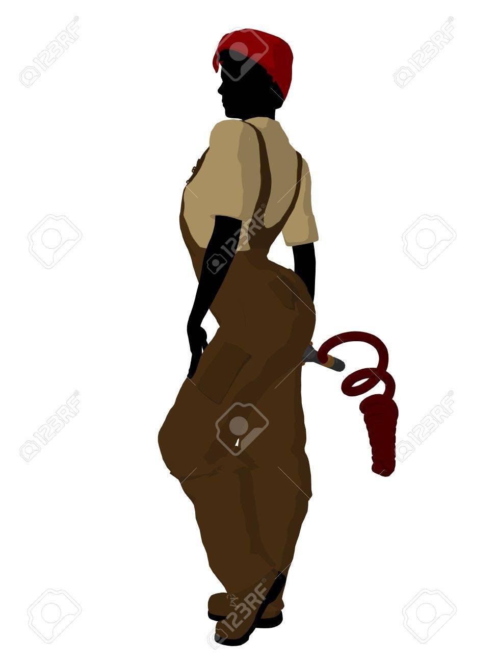 白い背景の上の女性メカニック イラスト シルエット の写真素材画像