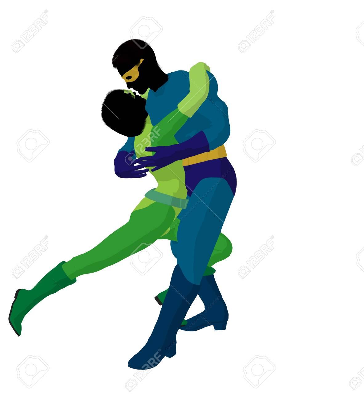 hero couple silhouette on a white background Stock Photo - 7942822