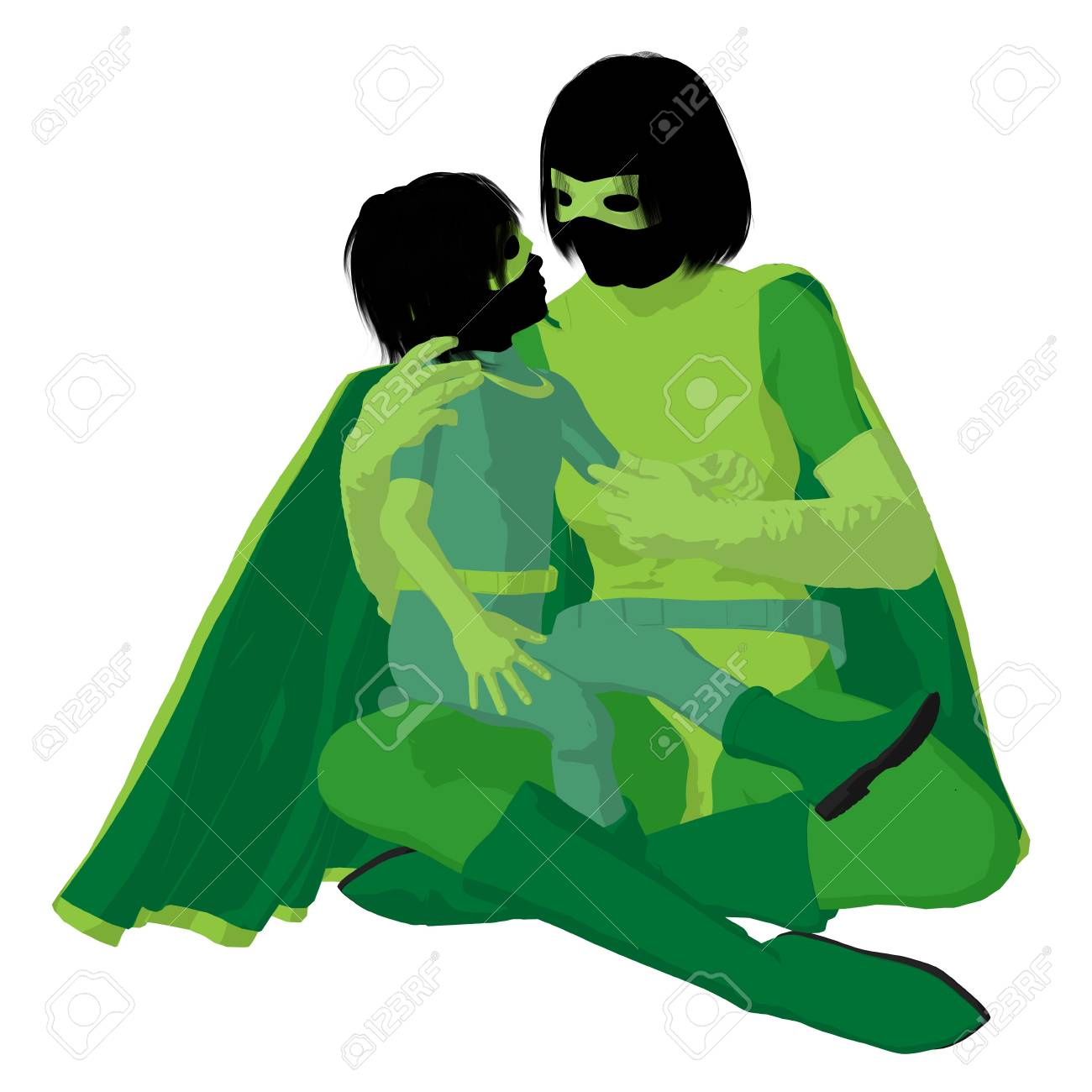 hero mom with child silhouette on a white background Stock Photo - 7942929