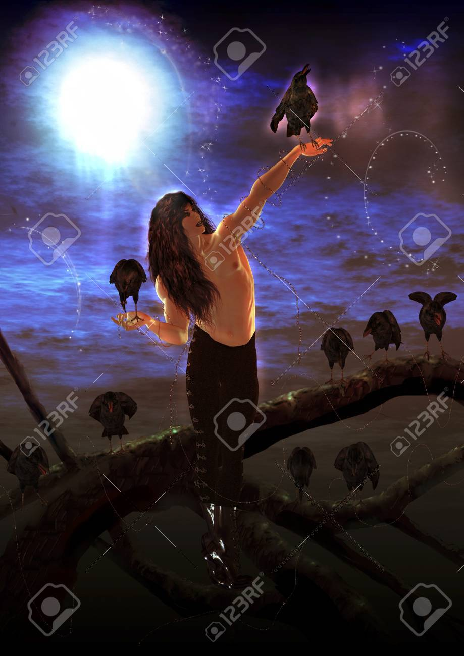 Gothic male surrounded by crows Stock Photo - 8087033