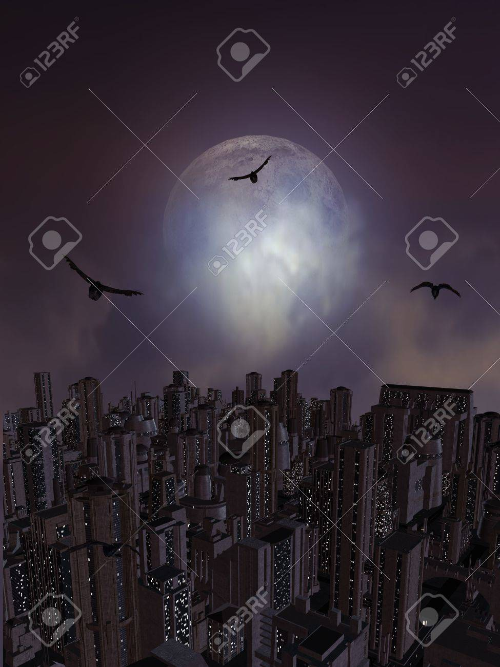 Full moon overlooking the city surrounded by crows Stock Photo - 8087042