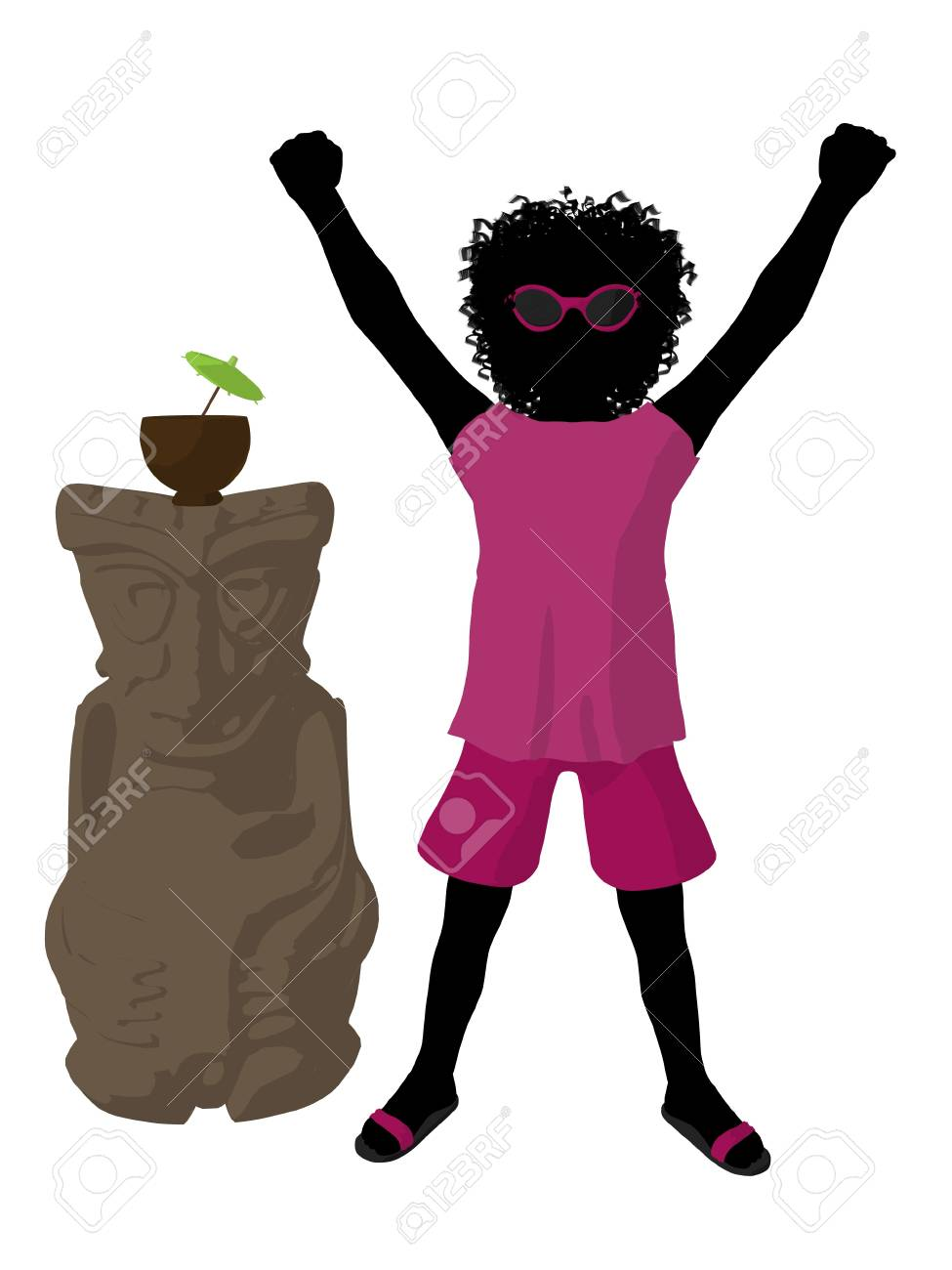 African american beach girl with tiki illustration silhouette on a white background Stock Photo - 8620076