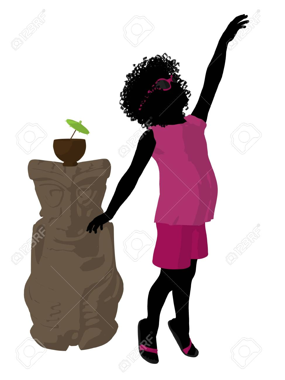 African american beach girl with tiki illustration silhouette on a white background Stock Illustration - 8620073