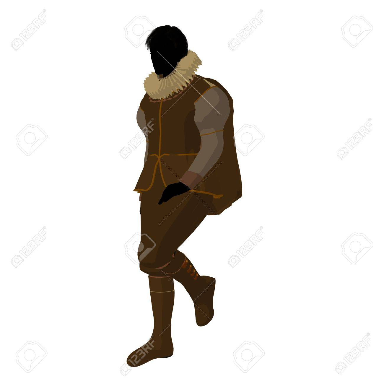 William Shakespeare silhouette on a white background Stock Photo - 9399891