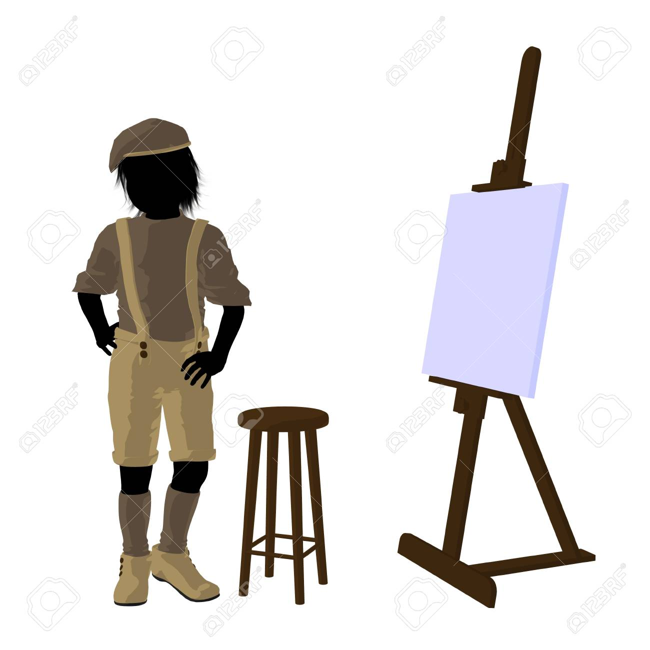 male tween artist with an easel and stool on a white background