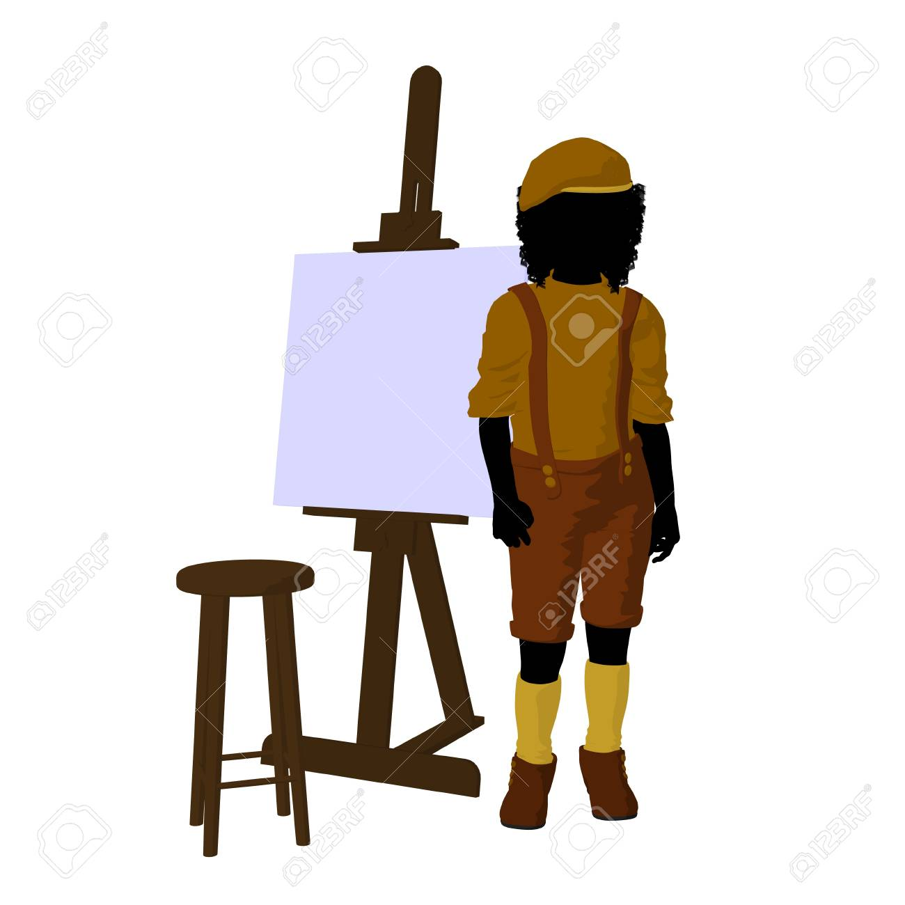 male tween african american artist with an easel and stool on
