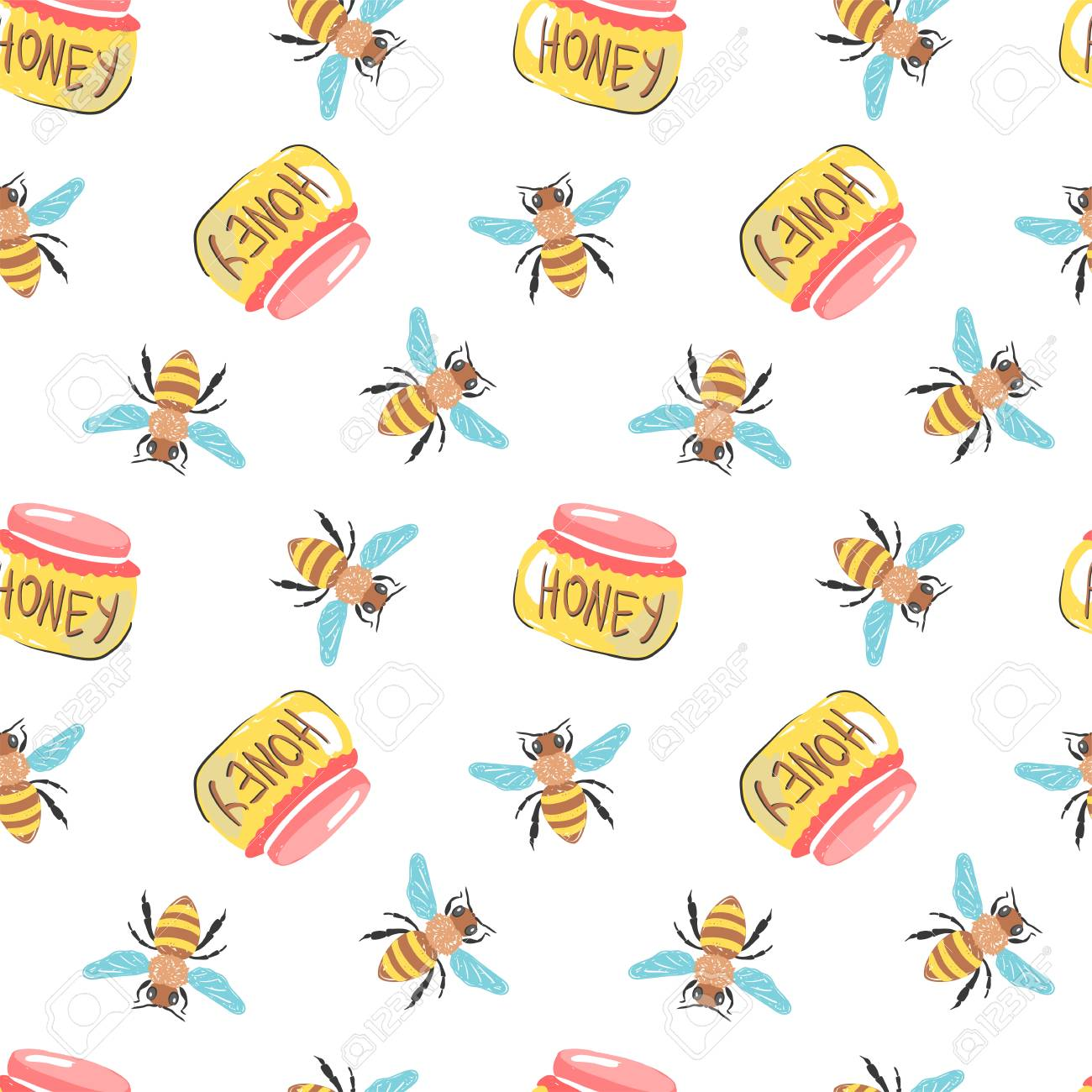 Honey Simple Sketh Drawn By Hand Seamless Pattern In Cartoon