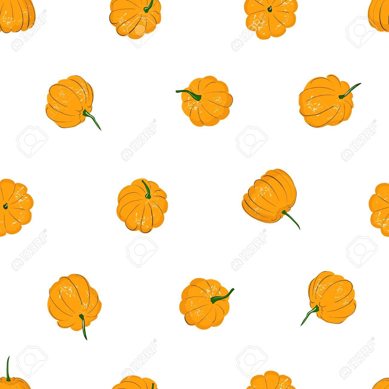 Cartoon Pumpkins Seamless Pattern Pumpkin From Different Sides