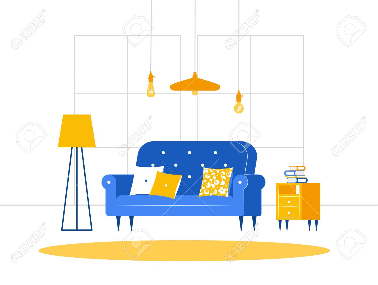 Brilliant Cozy Living Room With Sofa Bedside Table With Books Floor Lamp Unemploymentrelief Wooden Chair Designs For Living Room Unemploymentrelieforg