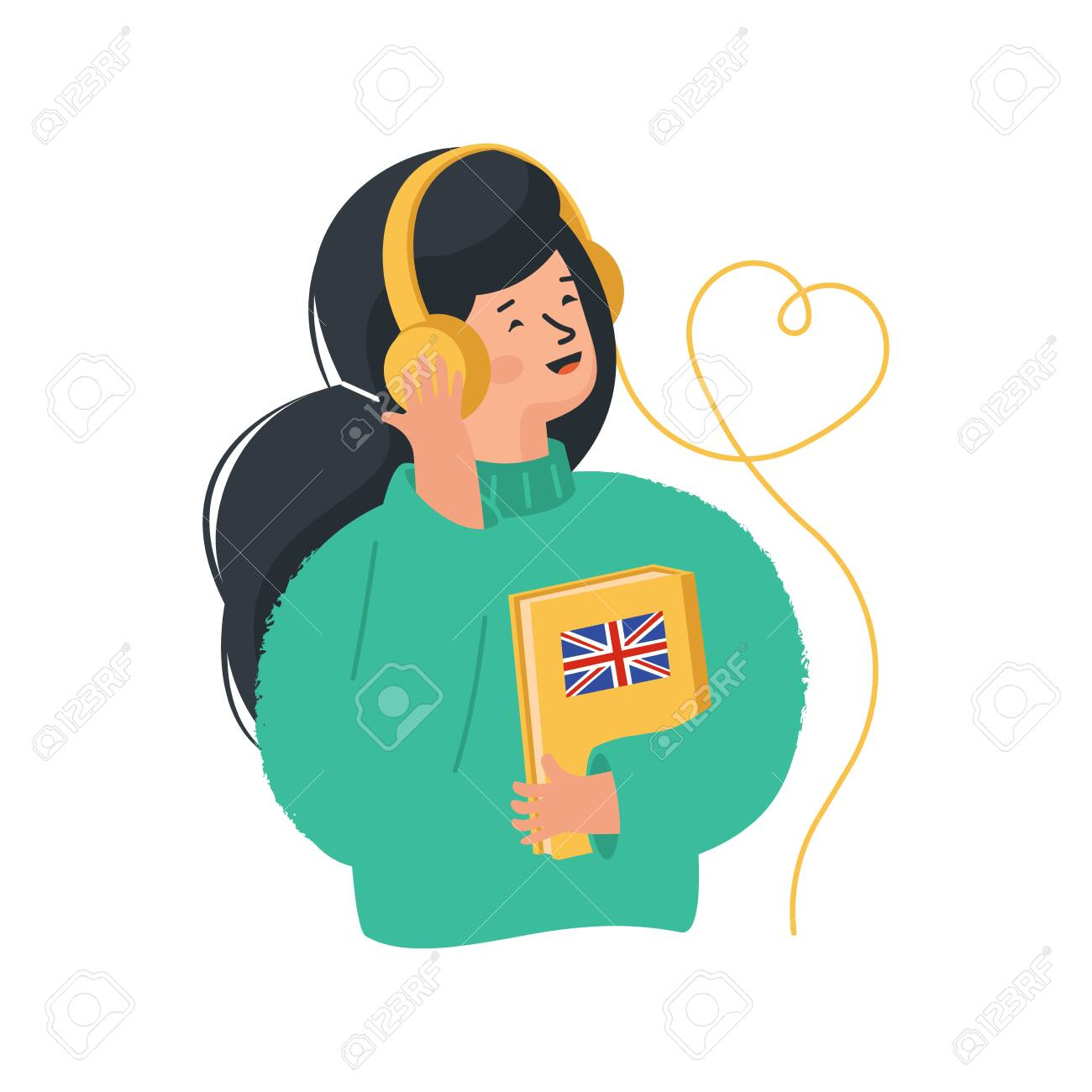 Online education concept. Girl listens to foreign language exercises by headphones. Online library. - 140360773
