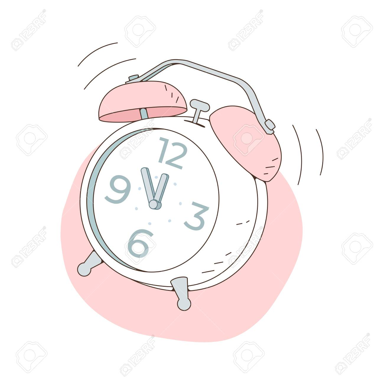 The alarm clock is ringing at noon. Vector illustration isolated on white background - 153189256