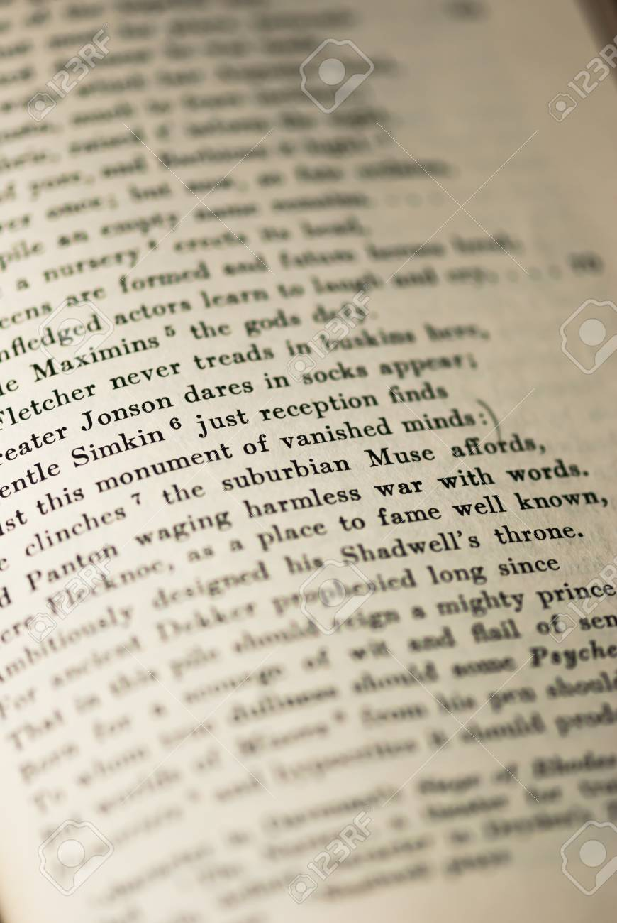 A Closeup Of The Words On Page From An Old Book Standard Bild