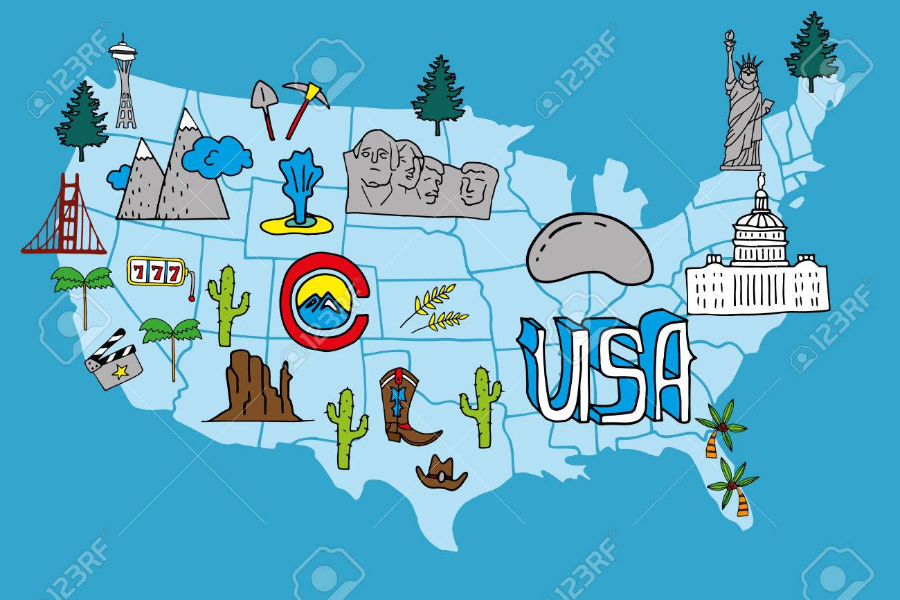 Illustrated USA Map Hand Drawn Elements With Symbols Of Tourist