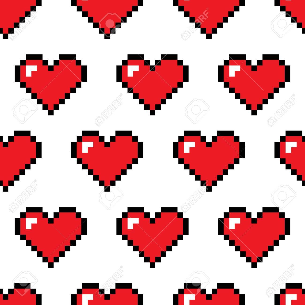 Coeurs De Pixel Vector Modèle Sans Couture