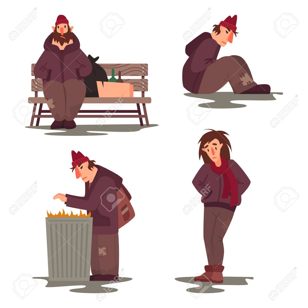 Homeless people vector characters set  Flat style illustration