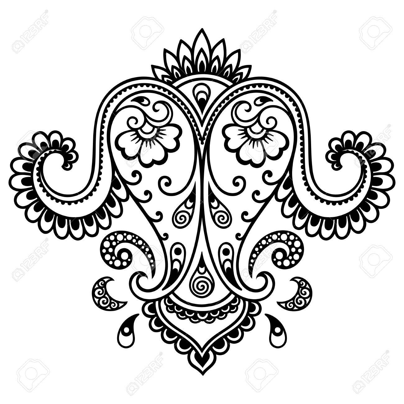 henna tattoo flower template mehndi royalty free cliparts vectors rh 123rf com henna vector designs free henna flower designs vector