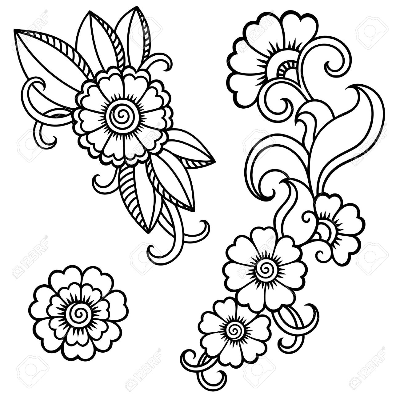 henna tattoo flower template mehndi royalty free cliparts