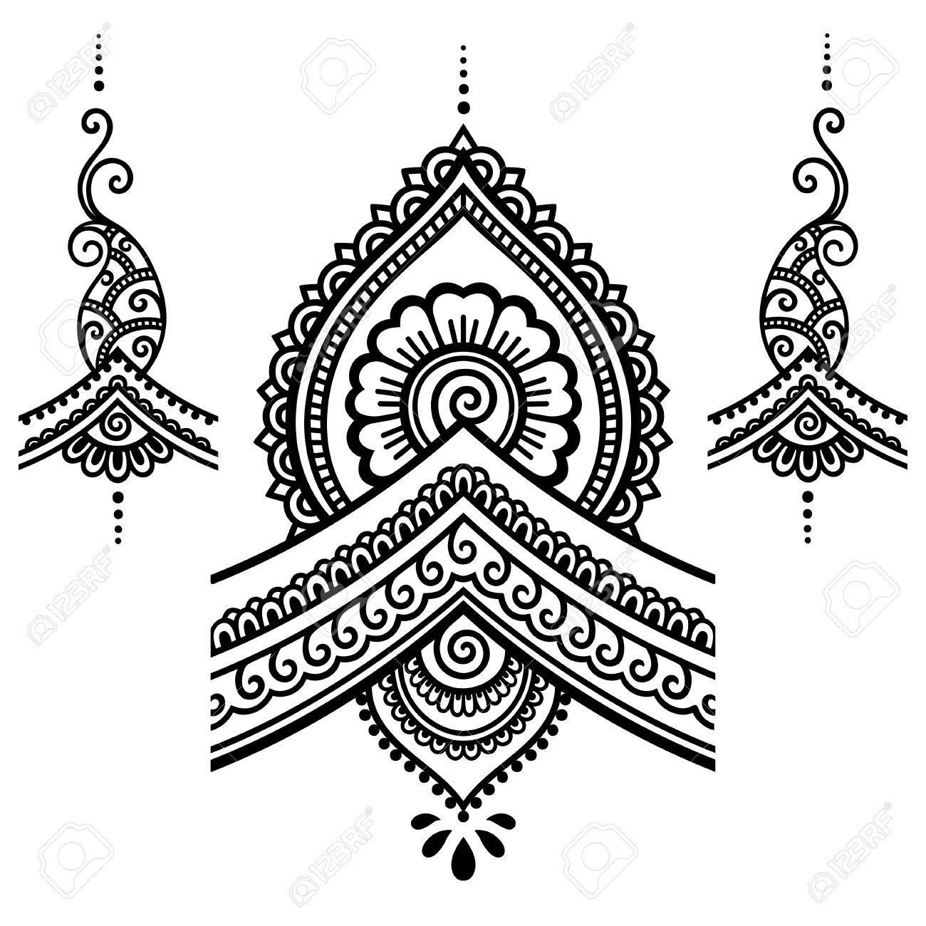 henna tattoo flower template mehndi royalty free cliparts vectors