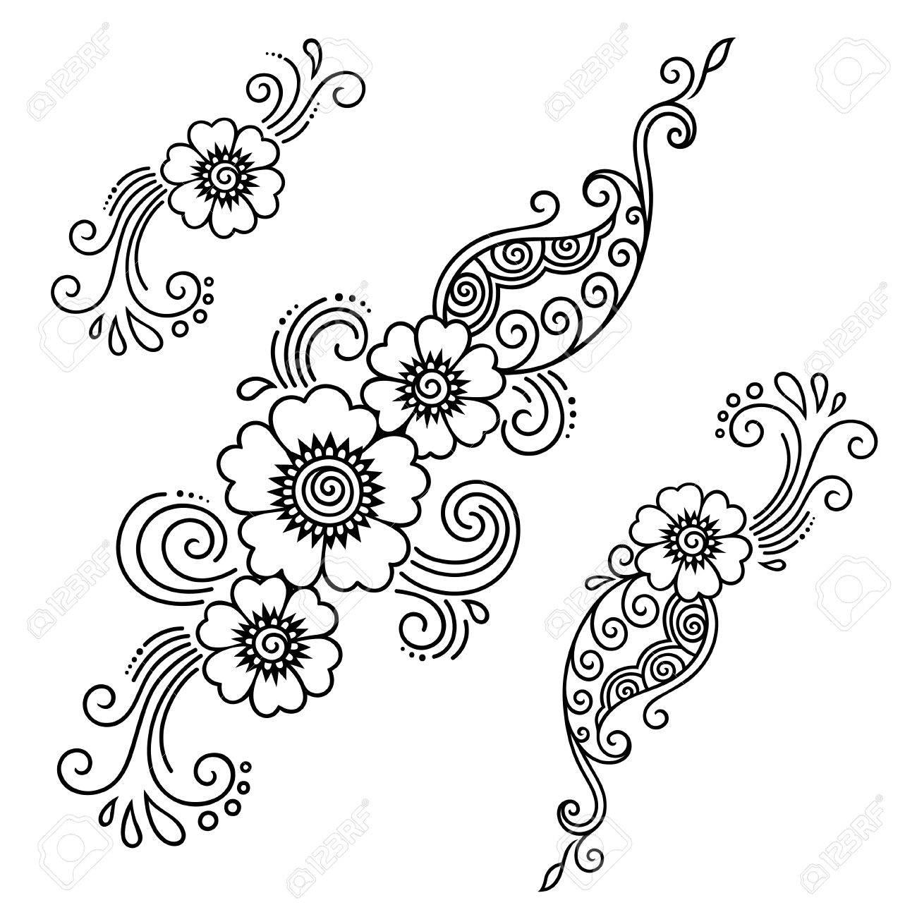 ヘナ タトゥーの花テンプレート 一時的な刺青 ロイヤリティフリー