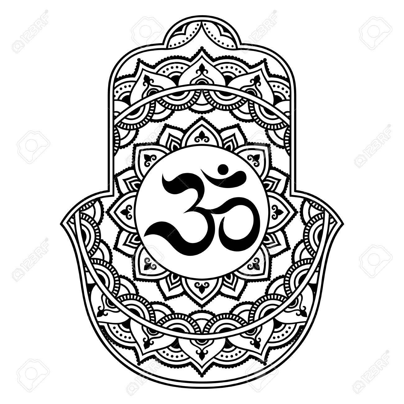 Vector Hamsa Hand Drawn Symbol Om Decorative Symbol Royalty Free