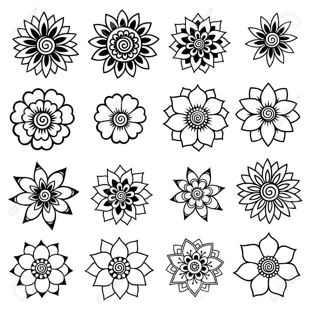 Henna Tattoo Flowers Mehndi Set Royalty Free Cliparts Vectors