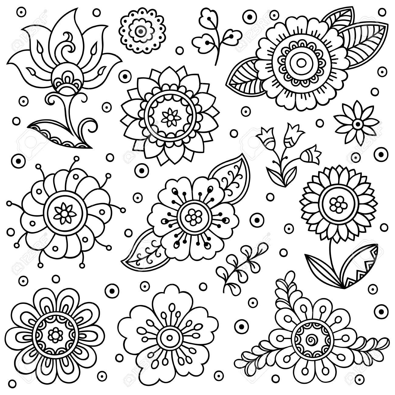 Modelo De Flor Del Vector Estilo De Dibujo Primavera Fondo Floral Elemento De Diseño En Estilo Garabatos Patrón De Libro Para Colorear