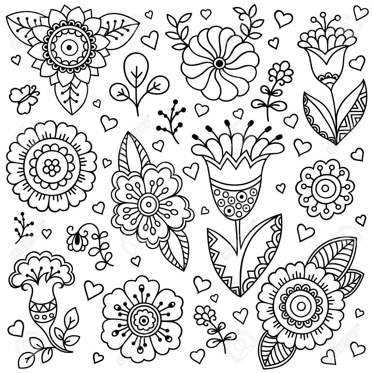 Modelo De Flor Del Vector. Estilo De Dibujo, Primavera Fondo Floral ...