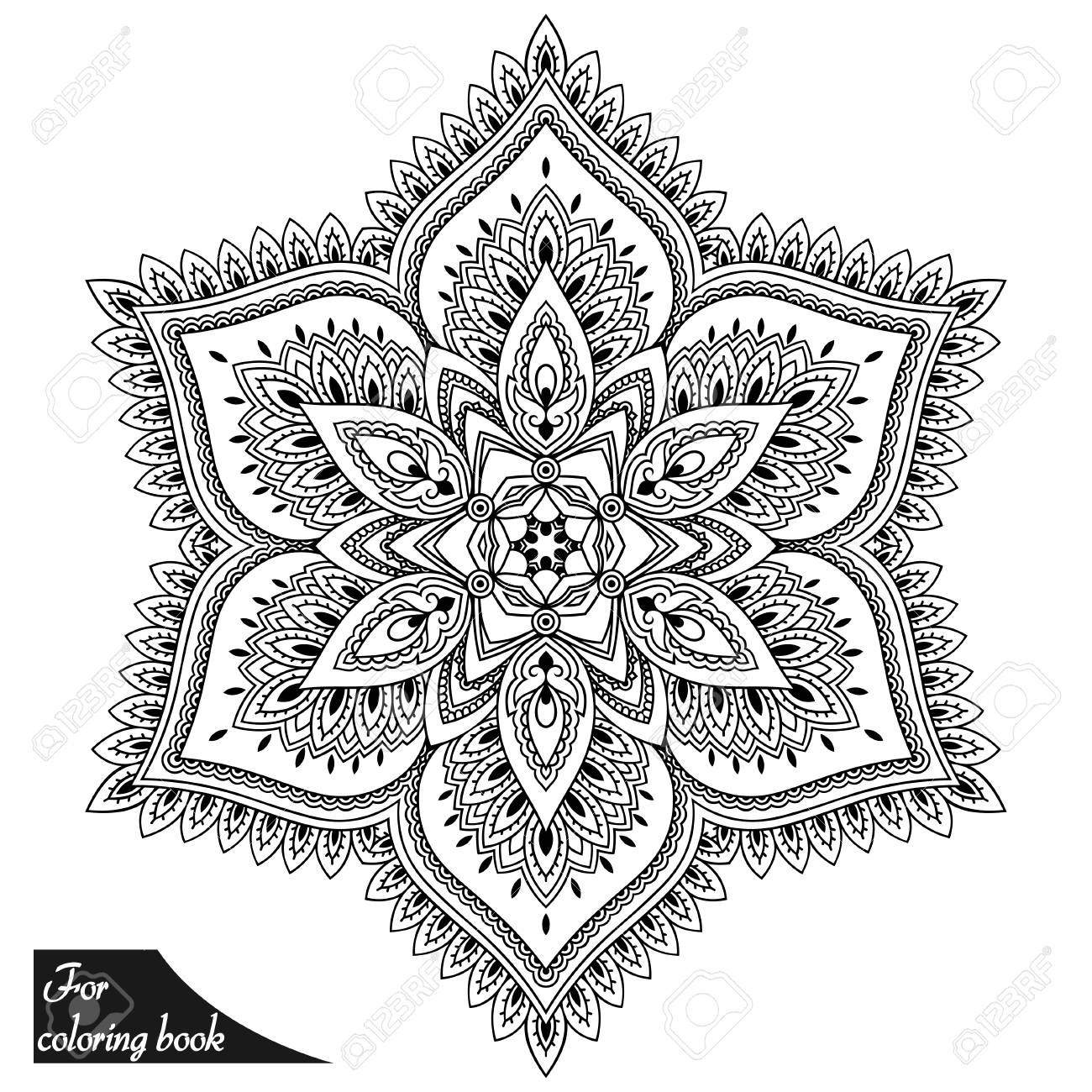 Henna Tattoo Mandala In Mehndi Style Pattern For Coloring Book
