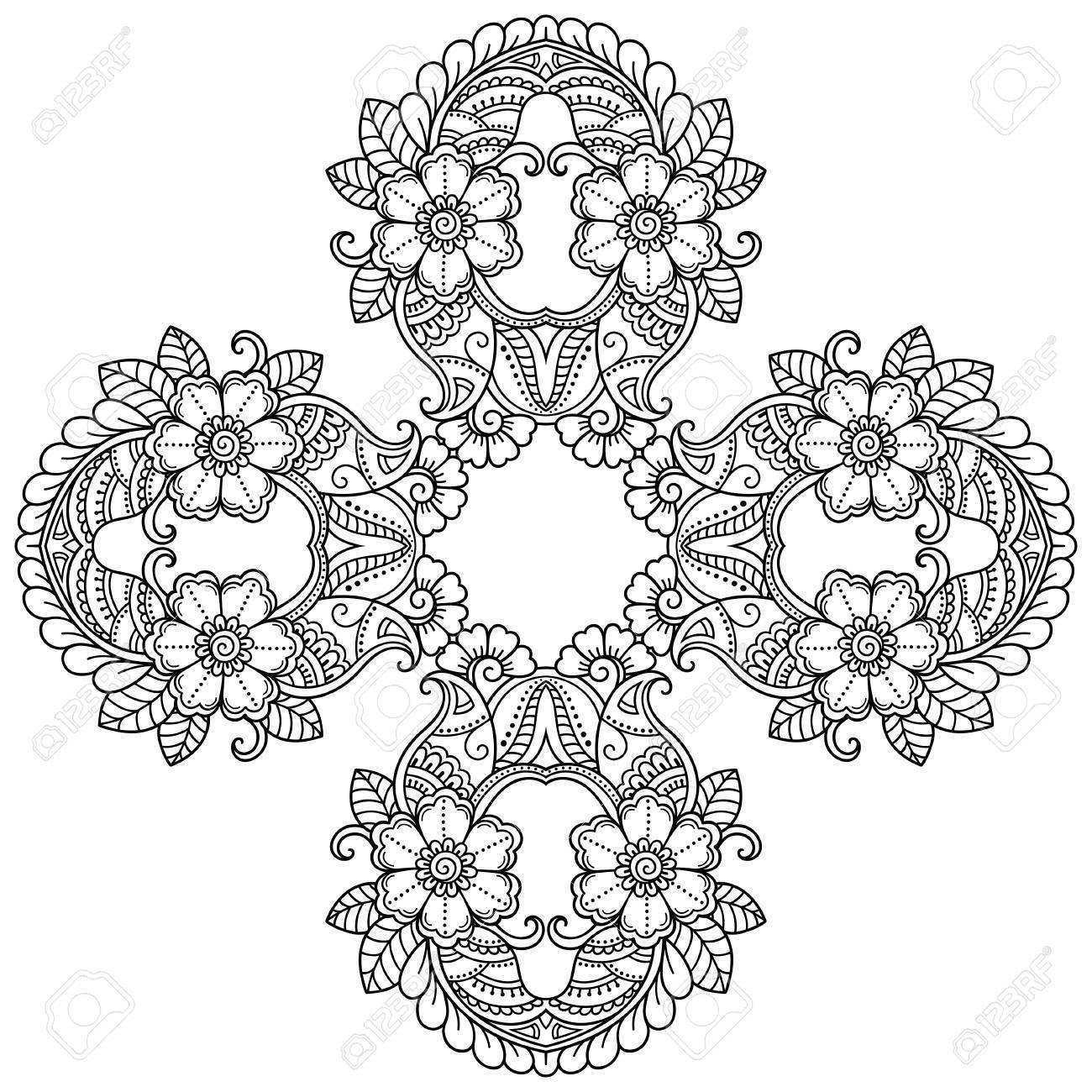henna tattoo mandala in mehndi stil muster fr malbuch hand gezeichnet vektor illustration - Henna Tattoo Muster