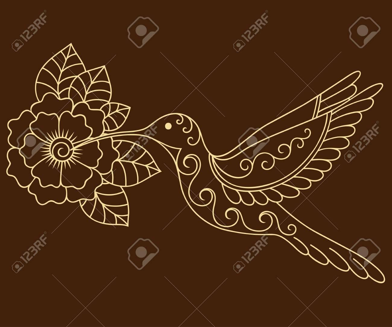 Henna Mehndi Vector : Henna tattoo flower and colibri template. mehndi style. set of