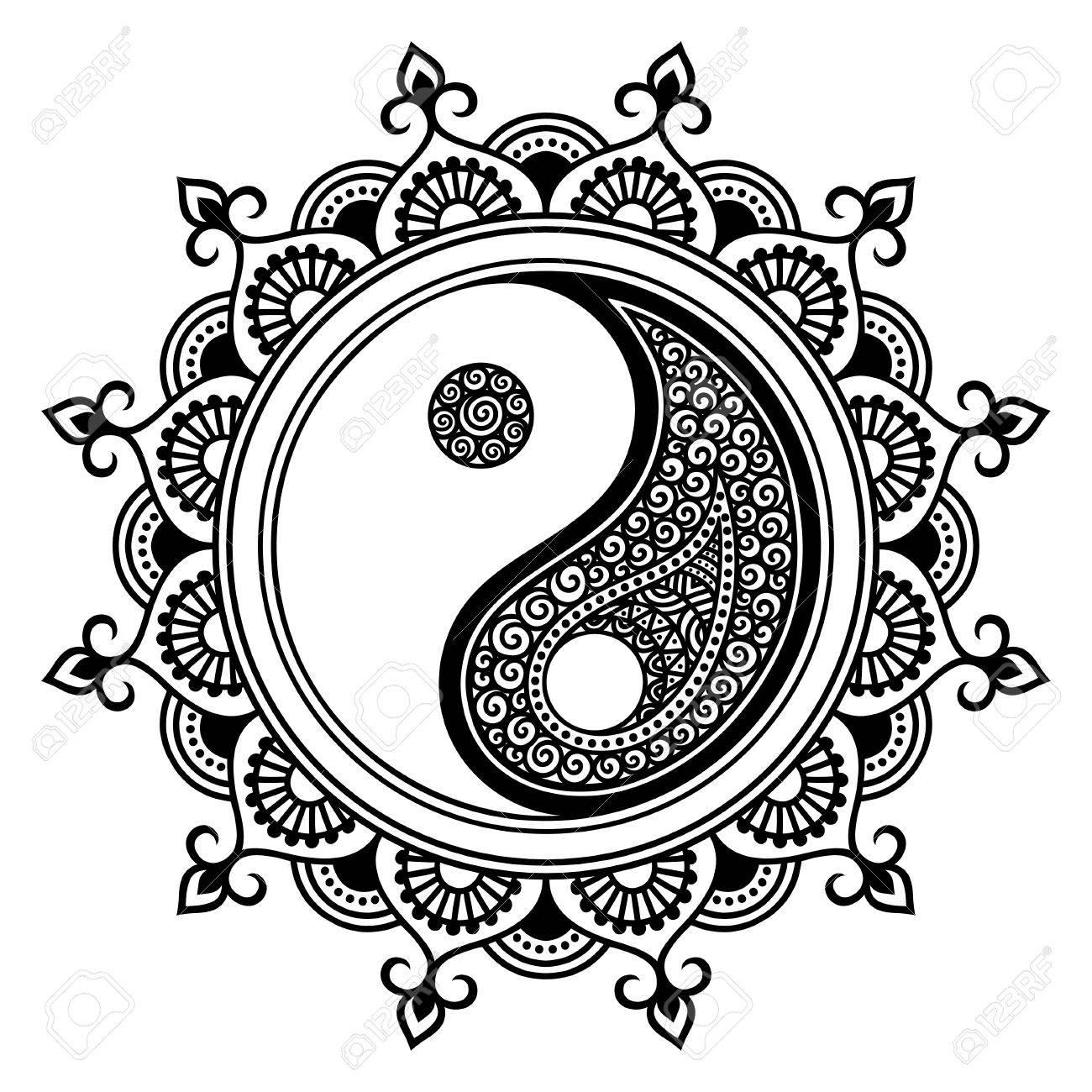 Un Modelo Circular En Forma De Un Mandala Yin Yang Símbolo