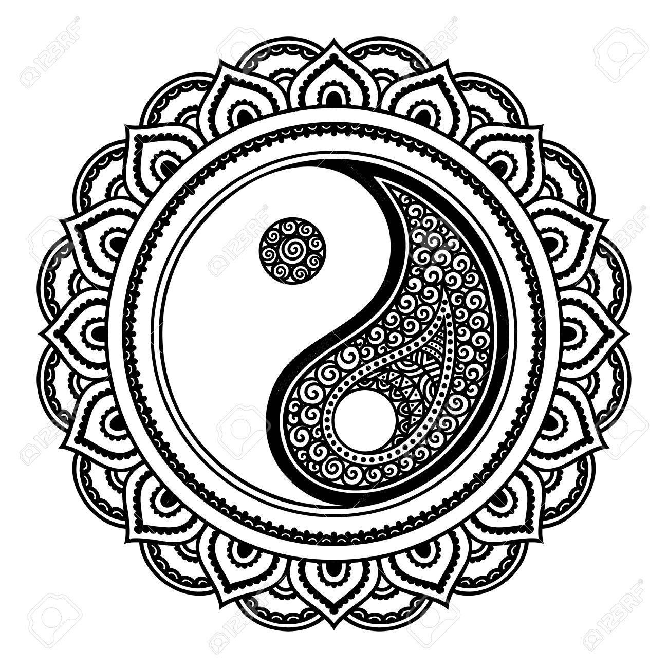 a circular pattern in the form of a mandala yin yang decorative rh 123rf com henna hand designs vector henna hand designs vector