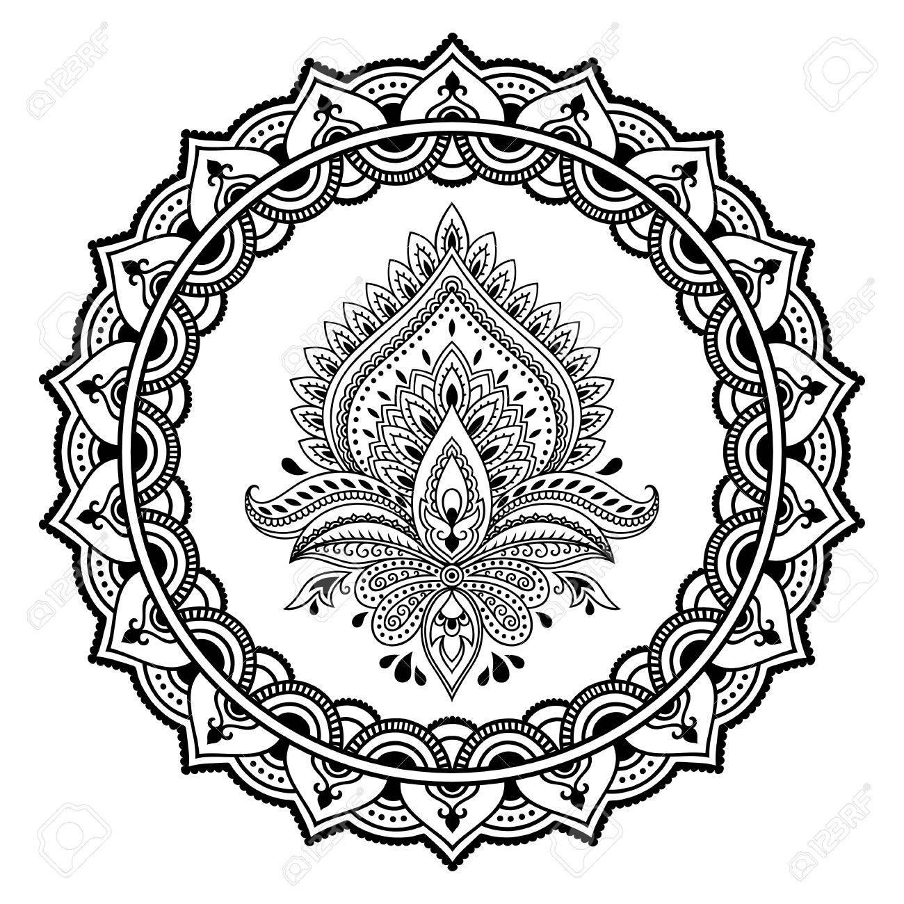 Eine Kreisförmige Muster In Form Einer Mandalahenna Tattoo Blume