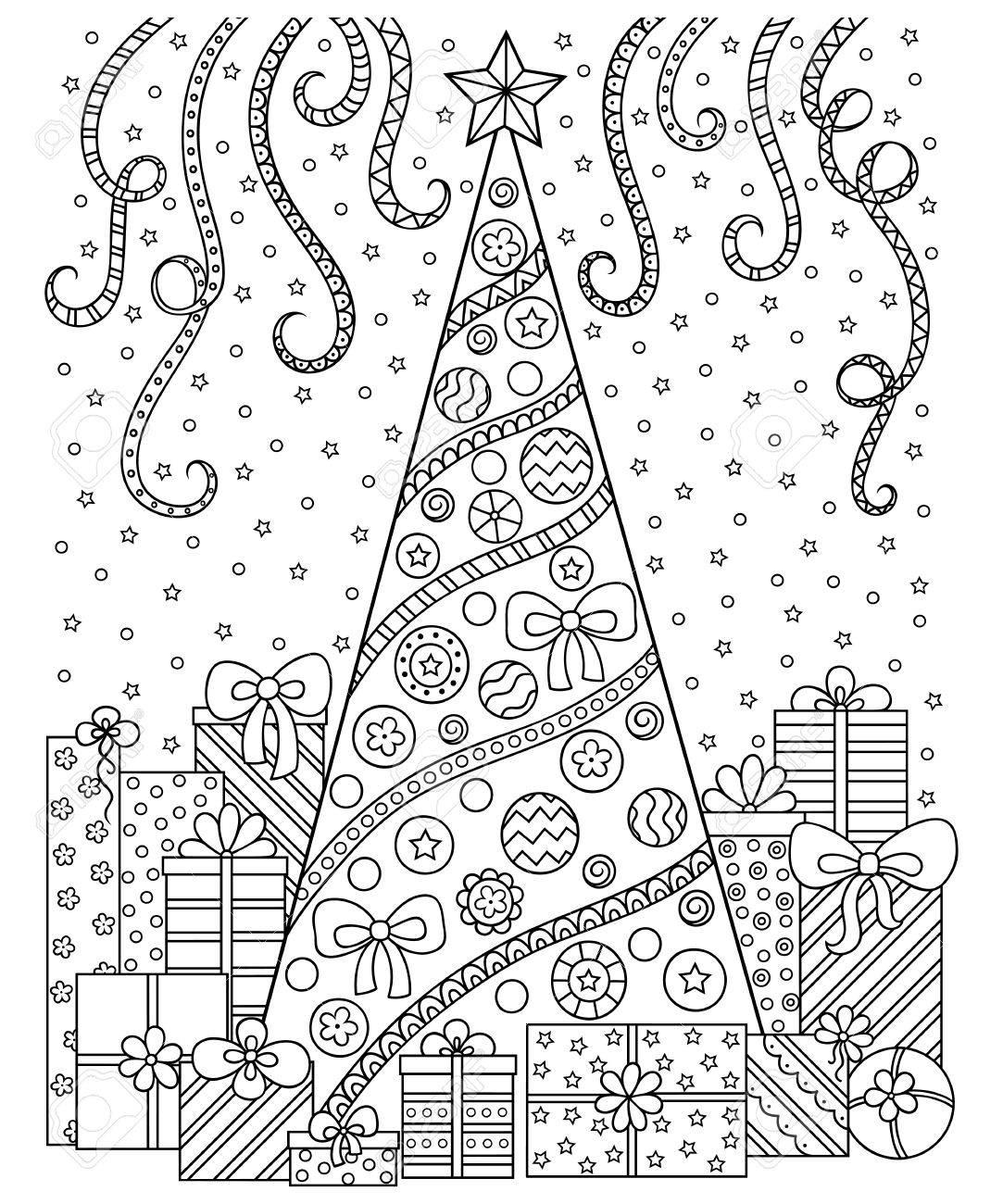 黒と白のパターンを落書きクリスマスの装飾クリスマス ツリー