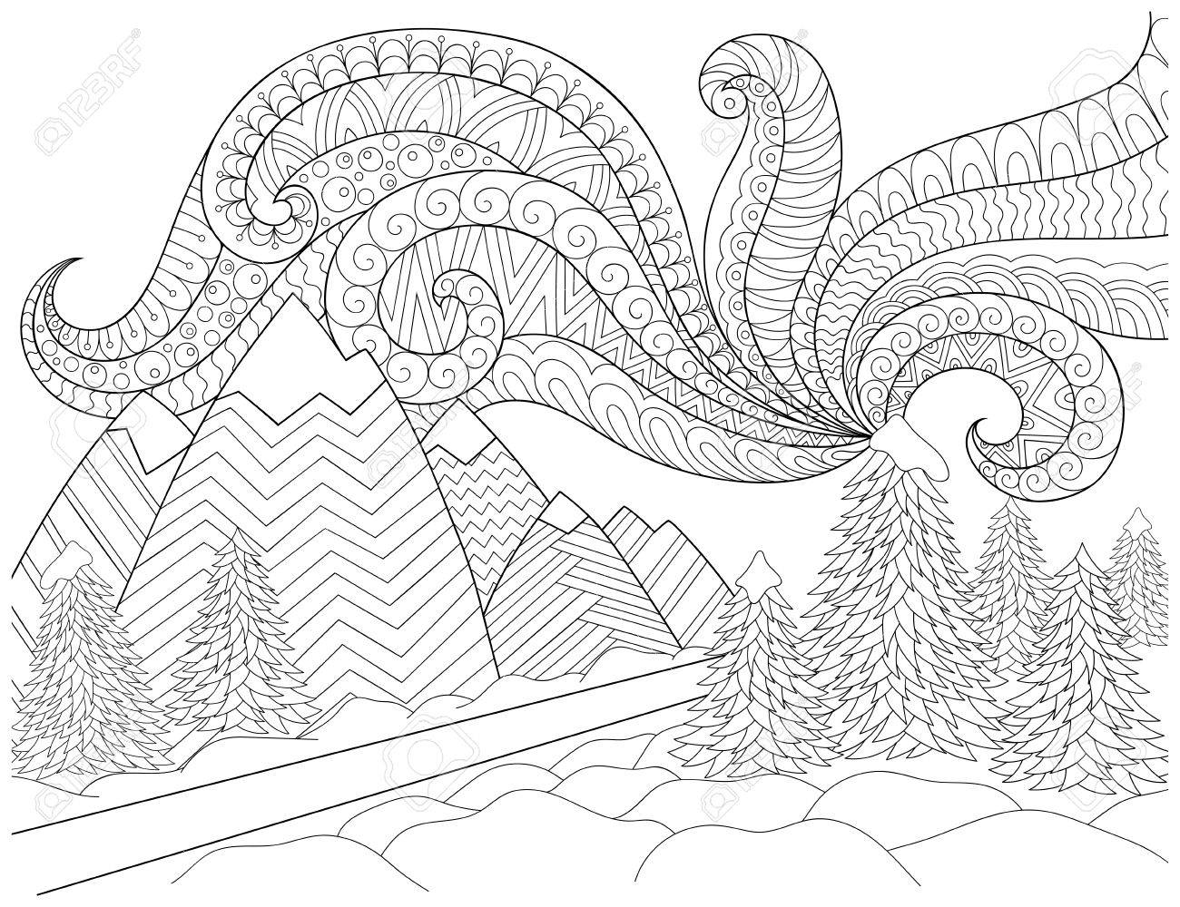 Doodle pattern in black and white. Winter Landscape - road, trees, mountains, northern lights, snow drifts. Landscape Pattern for coloring book. Winter mood - coloring book page for children and adults. - 64346643