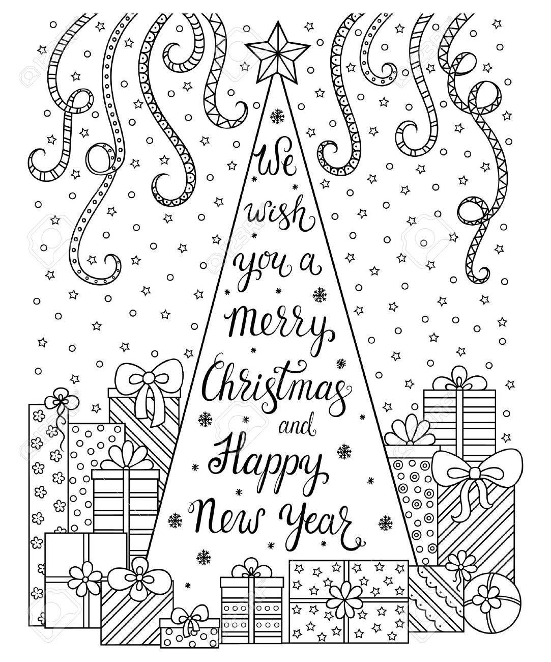 Doodle Patrón Nos Letras De Una Feliz Navidad Y Feliz Año Nuevo