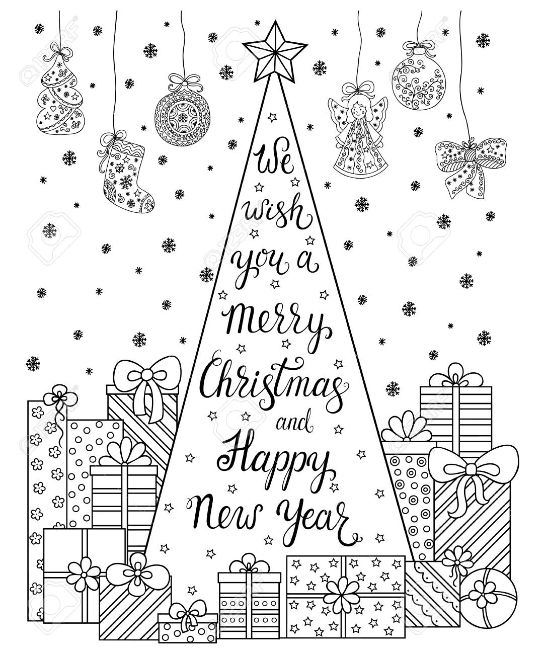 - Doodle Pattern. Lettering We Wish You A Merry Christmas And Happy