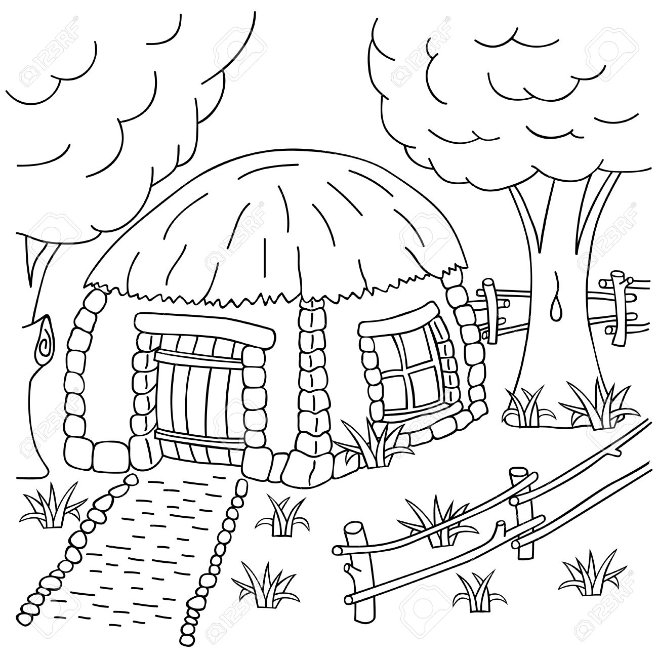 Hand-draw Village House Behind The Fence. Coloring Book Page ...
