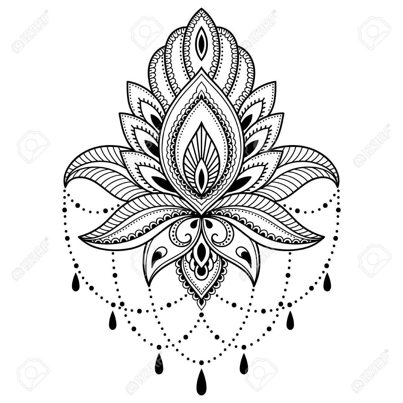 インド風のヘナタトゥー花テンプレート エスニック花柄ペイズリー