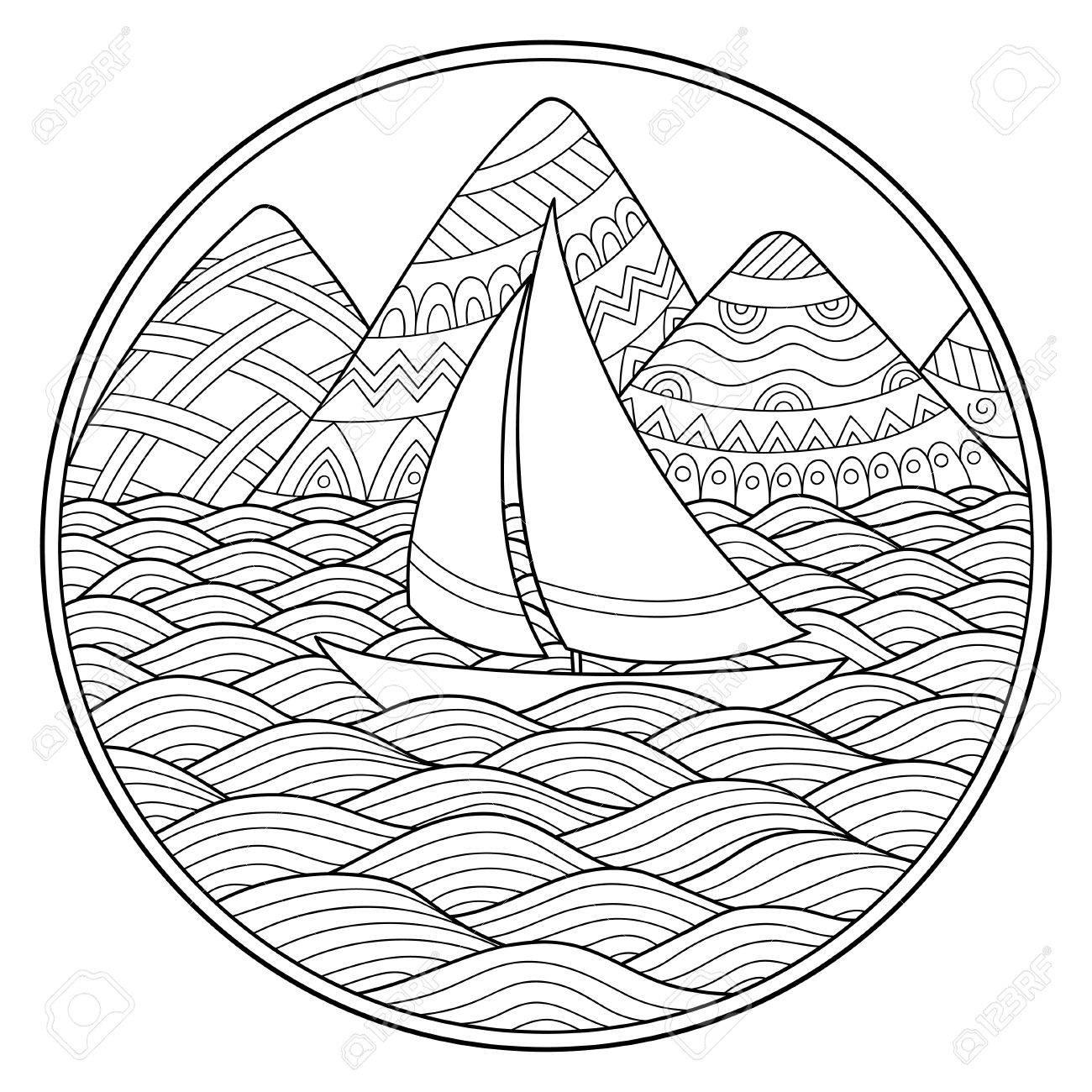 Doodle Patrón En Blanco Y Negro Patrón De Paisaje Para Colorear Montañas Ríos Montañas Mar Barco Yate Orilla Vela Onda Océano
