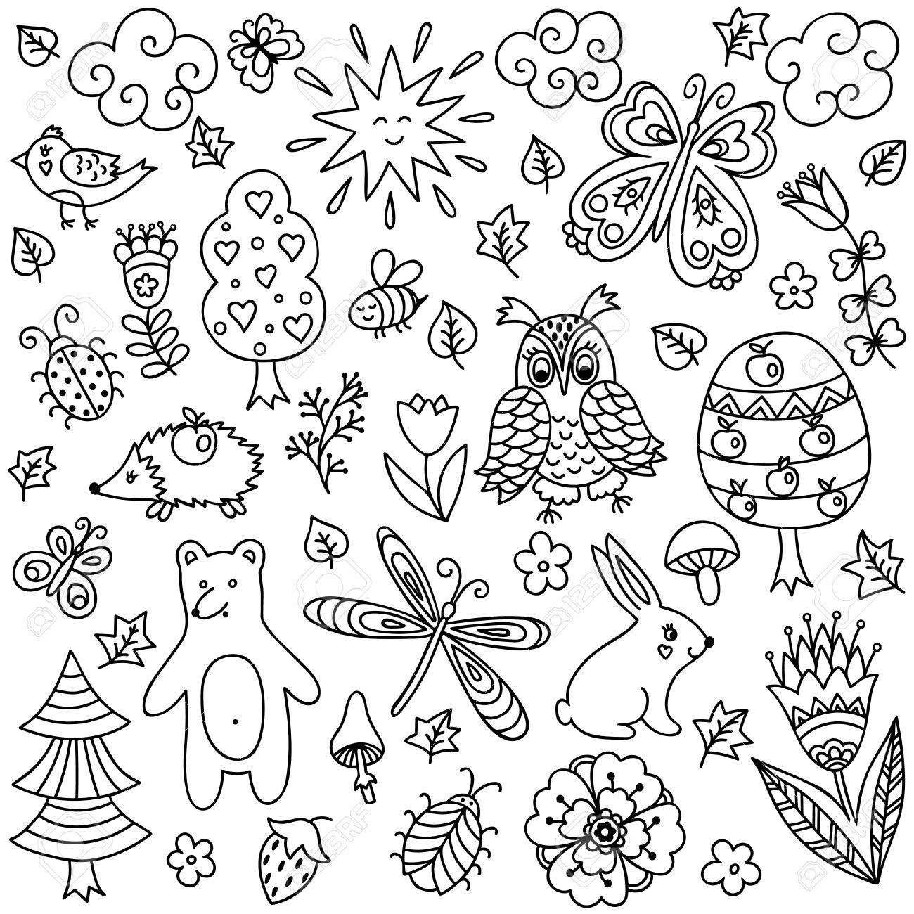 Elementos Del Vector En Estilo Infantil Garabato Dibujado A Mano