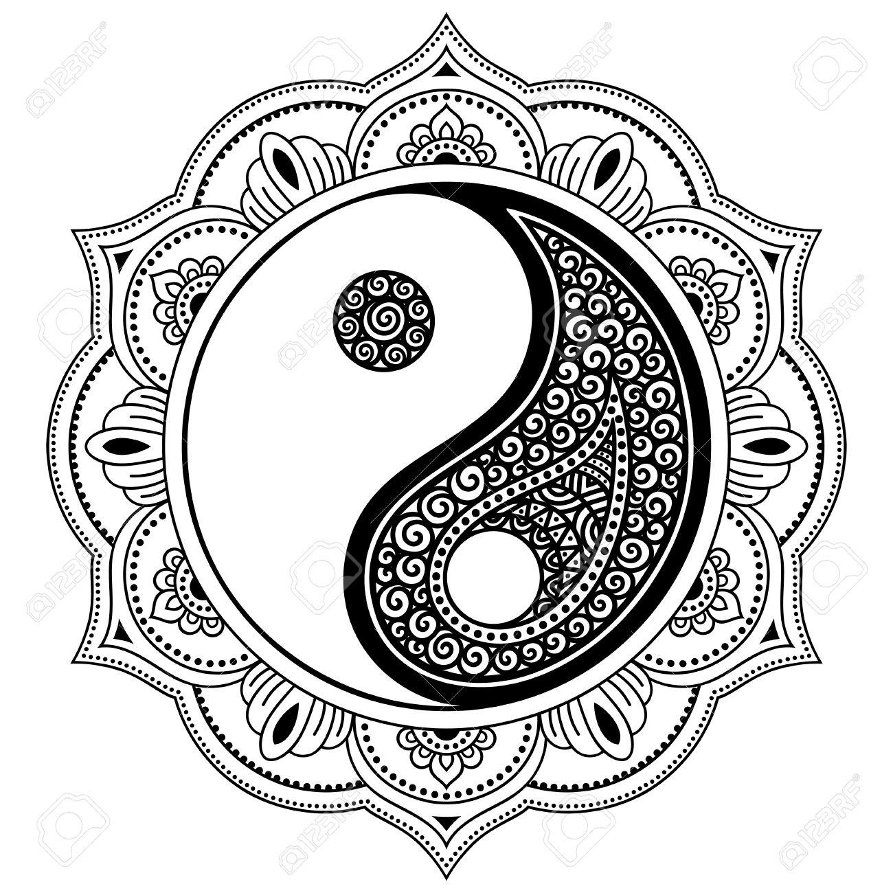 Mandala De Tatouage Vector Henna Symbole Decoratif Yin Yang Mehndi Style Modele Decoratif De Style Oriental Page De Coloriage Clip Art Libres De Droits Vecteurs Et Illustration Image 75745298