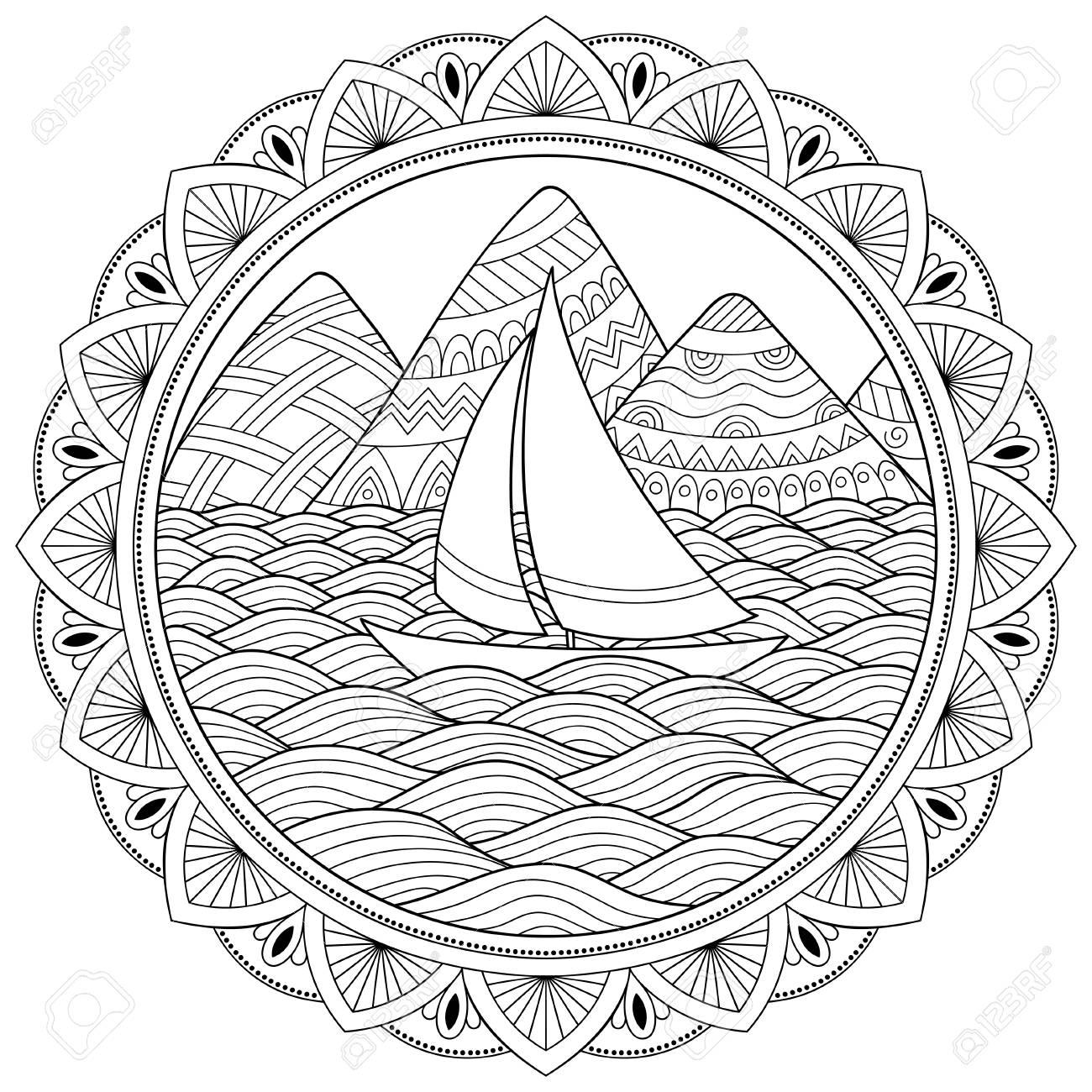 Patrón De Doodle En Blanco Y Negro Patrón De Paisaje Para Colorear Libro Montañas Ríos Colinas Mar Barco Yate Costa Vela Ola Mar