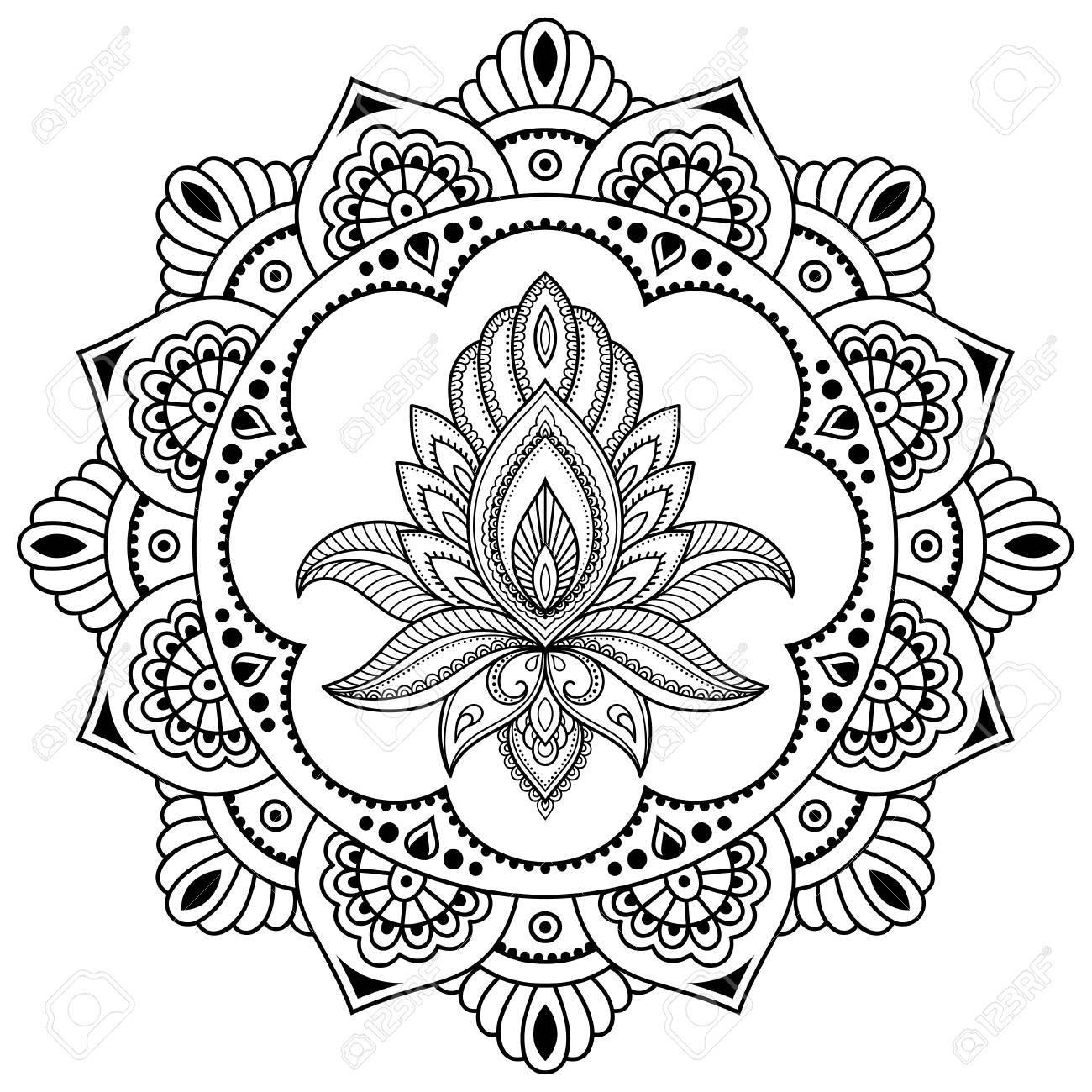 Un Patrón Circular En Forma De Mandala Plantilla De La Flor Del