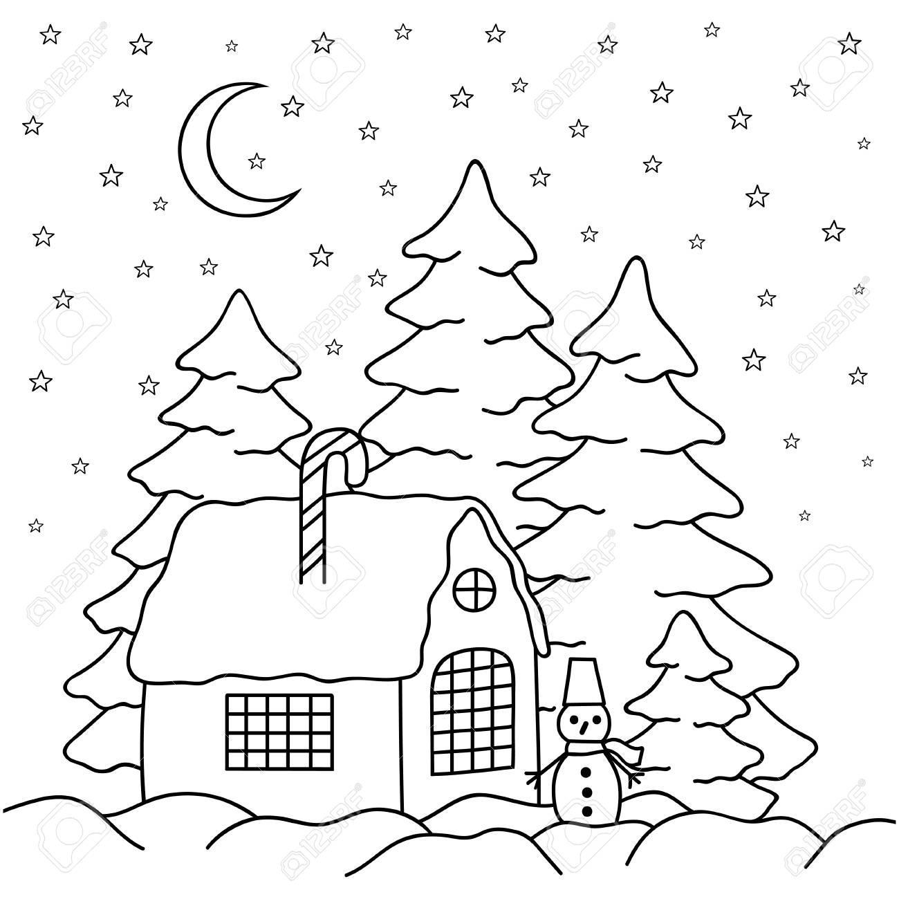 Casa De Pueblo Dibujada A Mano Detrás De La Cerca Página De Libro Para Colorear Para Adultos Y Niños Paisaje De País De Invierno Casa Luna