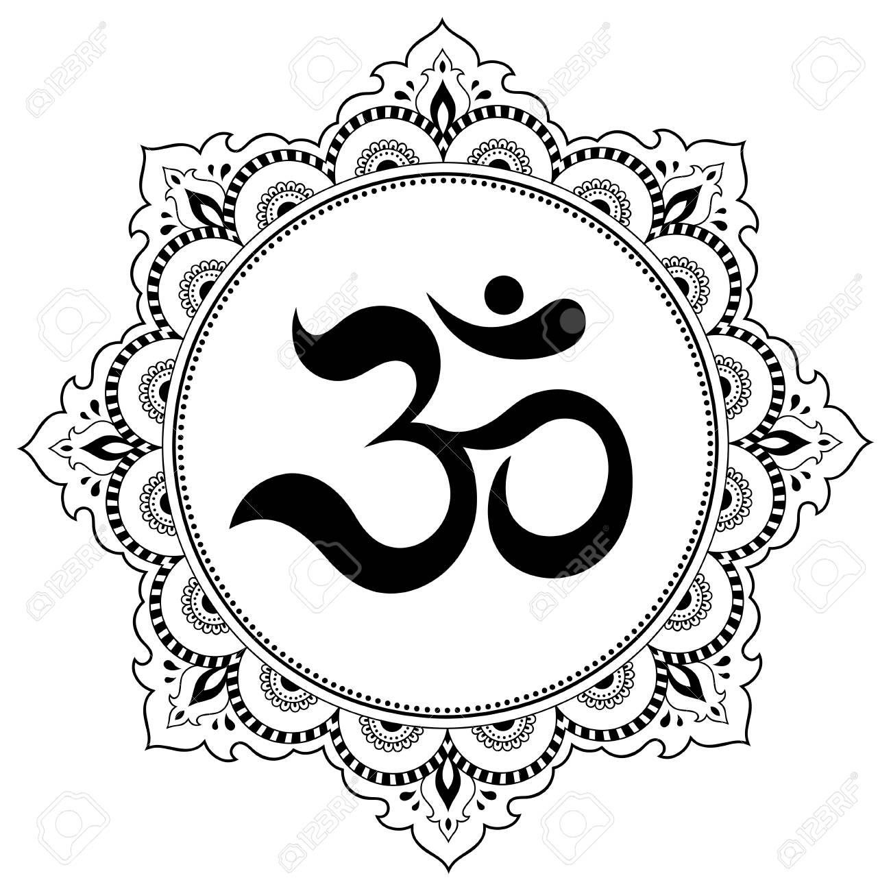 Circular pattern in the form of a mandala om decorative symbol circular pattern in the form of a mandala om decorative symbol mehndi style buycottarizona