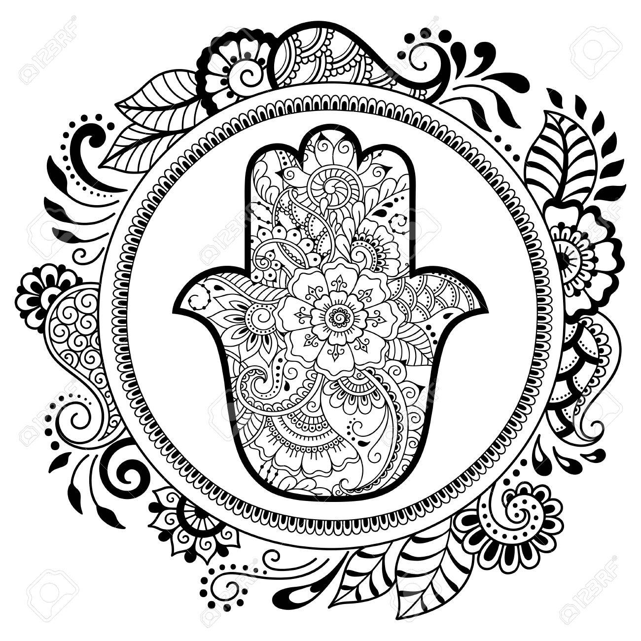 cff4dc66b Hamsa hand drawn symbol in mandala. Mehndi style. Decorative pattern in  oriental style.